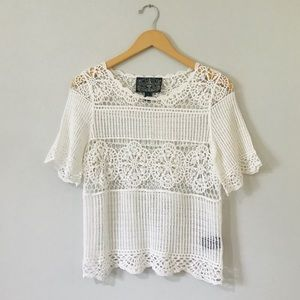 Anthropologie James Coviello White Crochet Top XS